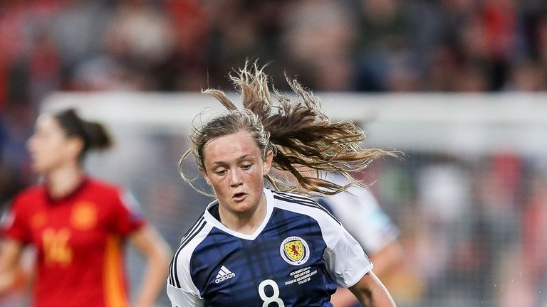 Erin Cuthbert scored twice for Scotland Women