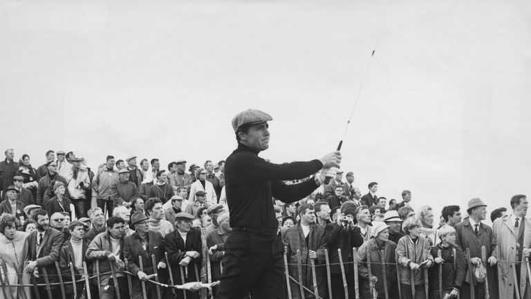 Player hitting off the tee at the 18th at Carnoustie