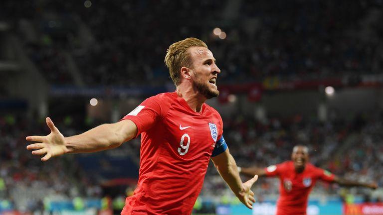Harry Kane celebrates his late winner for England
