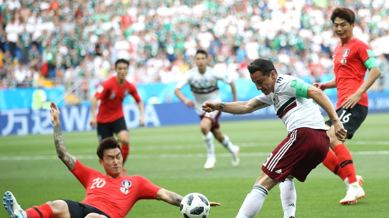 Hyun-Soo Jang concedes the penalty that Vela scored for Mexico