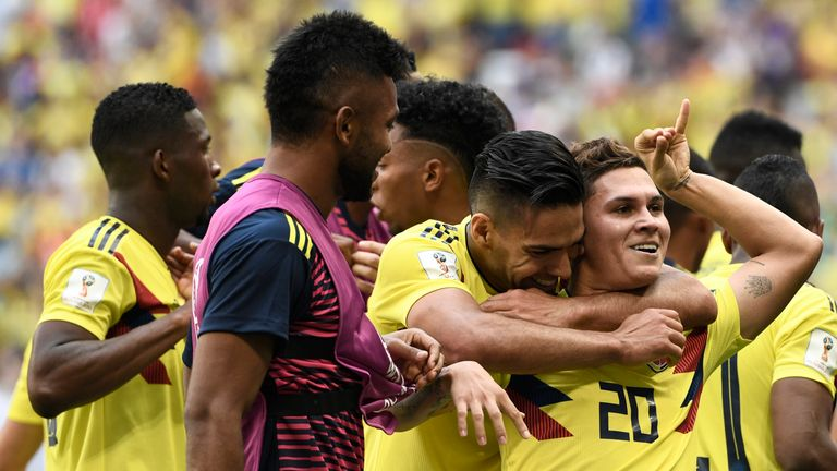 Juan Quintero celebrates with Radamel Falcao after scoring for Colombia