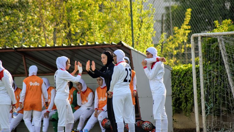 Katayoun Khosrowyar pictured with her U19 players