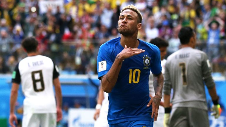 Neymar celebrates after extending Brazil's lead in Saint Petersburg