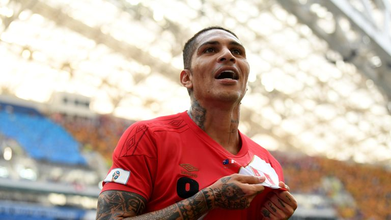 Paolo Guerrero celebrates after scoring Peru's second goal