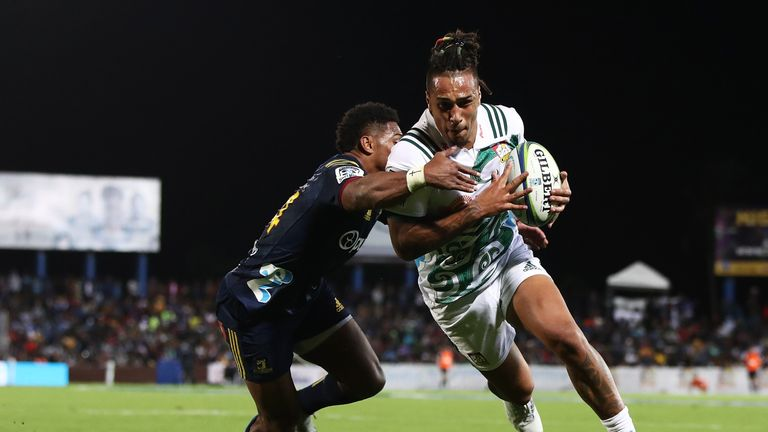 Sean Wainui attacks for the Chiefs