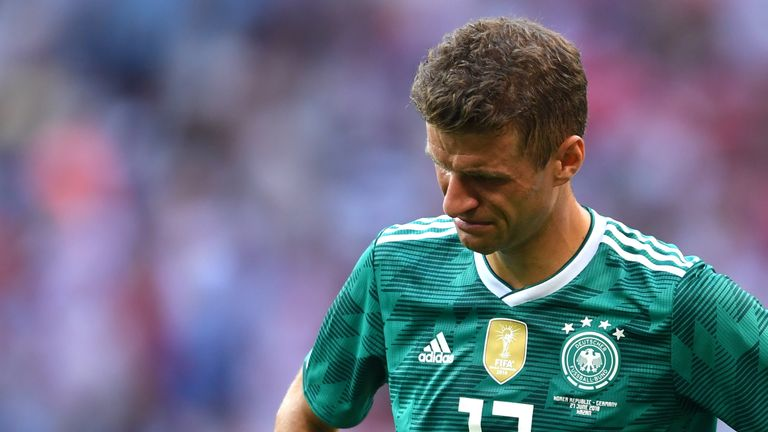 Thomas Muller in tears at the full-time whistle