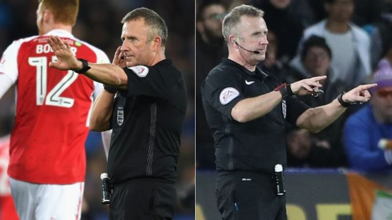 Referee Jon Moss communicating with VAR (left) and then signalling an official review (right) during Leicester's FA Cup match with Fleetwood in January