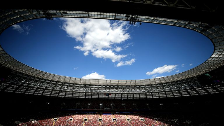 The Luzhniki Stadium in Moscow will host the World Cup final on Sunday - two hours after the Wimbledon final is due to start