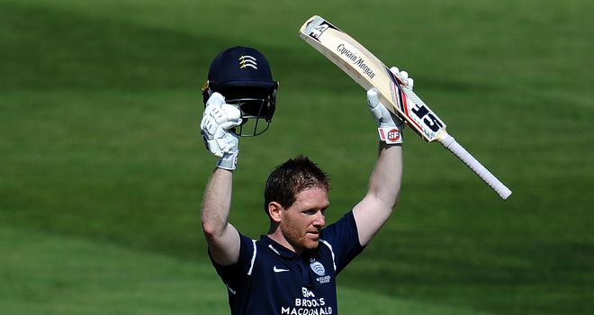 Eoin Morgan scored a 69-ball hundred for Middlesex against Gloucestershire on Wednesday
