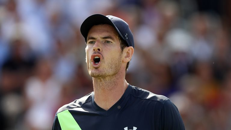 Andy Murray of Great Britain reacts during his match against Nick Kyrgios of Australia on Day Two of the Fever-Tree Championships at Queens Club on June 19, 2018 in London, United Kingdom.