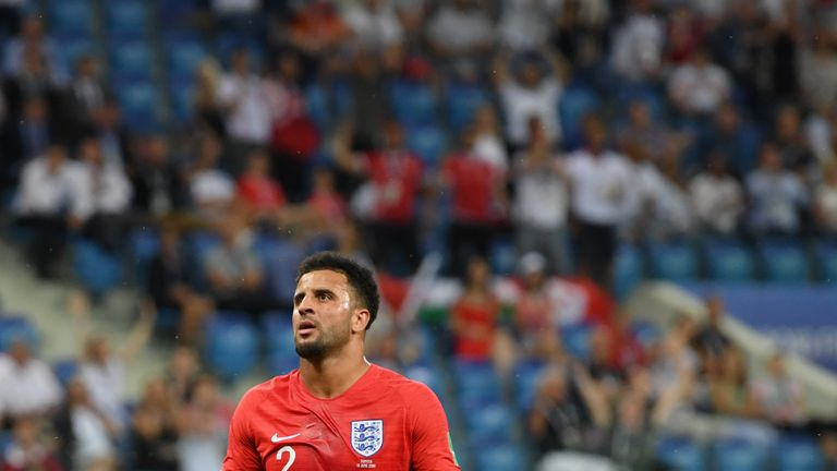 Kyle Walker concedes a penalty after clashing with Fakhreddine Ben Youssef