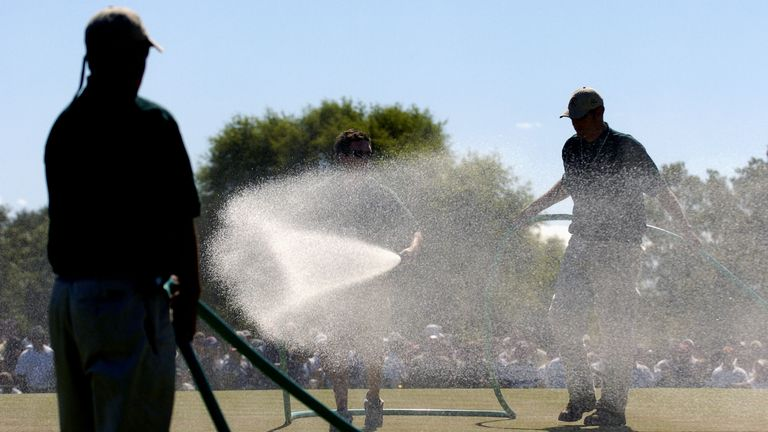 The seventh green had to be watered in between groups on the final day in 2004