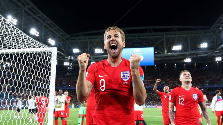 Harry Kane celebrates after England's victory over Colombia on penalties.