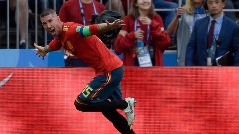 Sergio Ramos celebrates Spain's opener against Russia at the World Cup