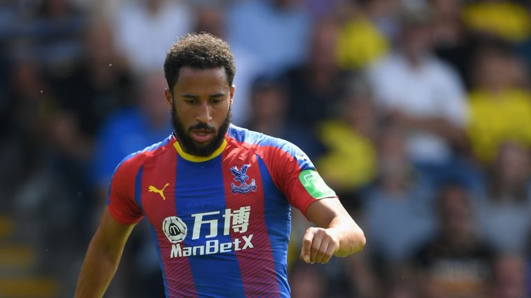 Andros Townsend wears Crystal Palace's new home kit in a pre-season friendly against Oxford United