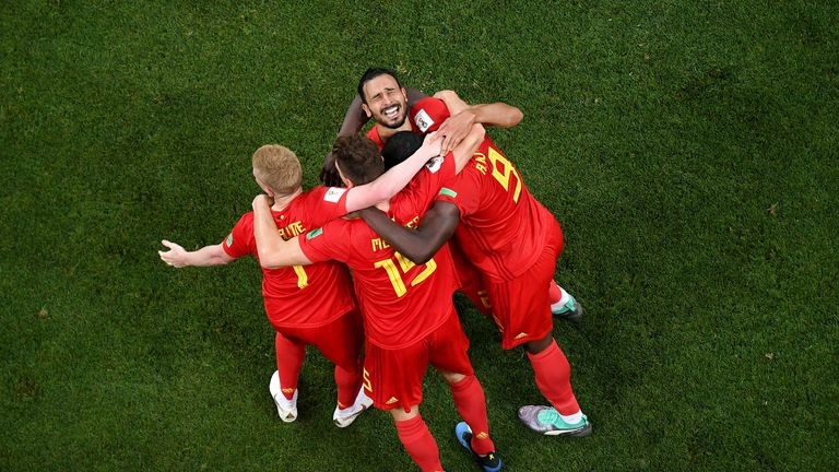 Nacer Chadli celebrates after scoring Belgium's winner against Japan
