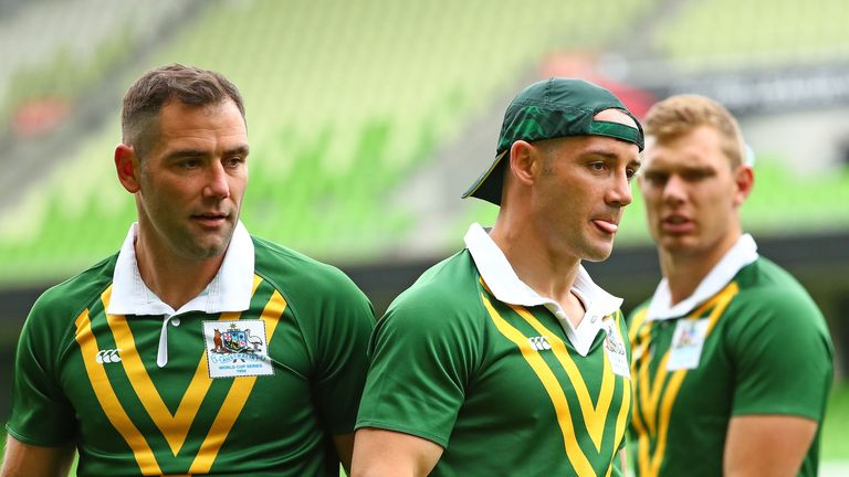 Cameron Smith and Cooper Cronk pictured together at Kangaroos training