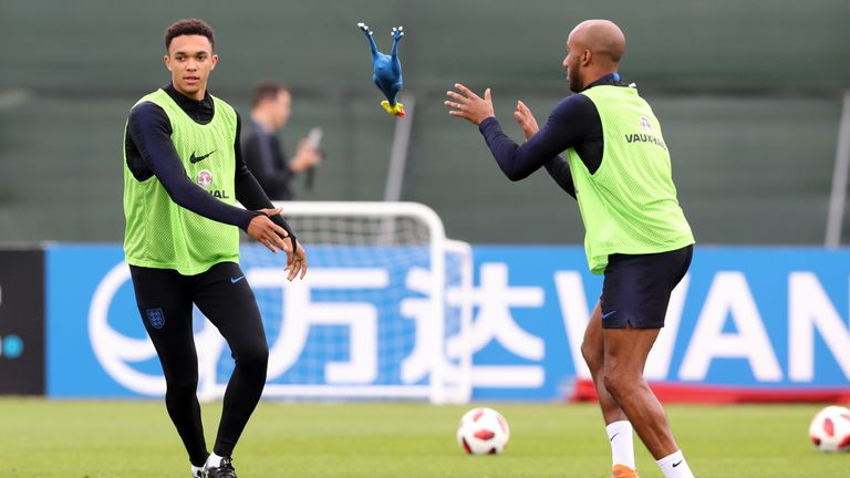 A surprise inclusion among the 23 players as a rubber chicken was thrown around in training in an unorthodox exercise
