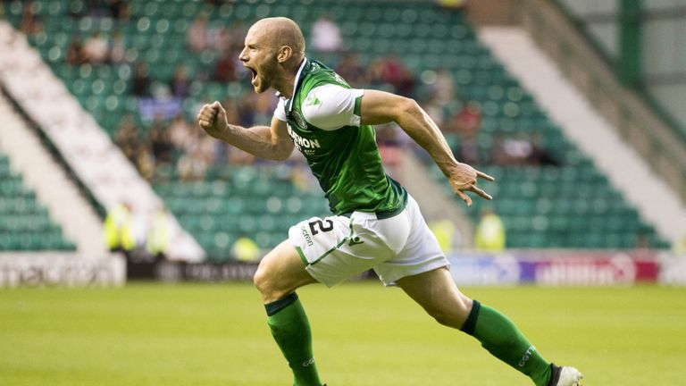 David Gray celebrates his equaliser for Hibernian in their Europa League qualifier