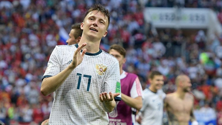 Russia's Alexsandr Golovin scored in the World Cup opening game - a 5-0 win over Saudi Arabia
