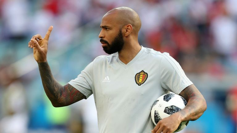 Former France forward Thierry Henry works as an assistant coach under Roberto Martinez with Belgium
