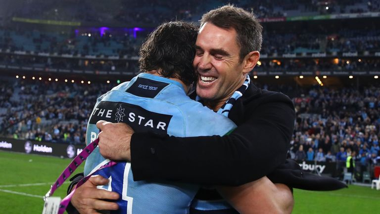 James Roberts of the Blues and coach Brad Fittler celebrate victory after game two of the State of Origin series