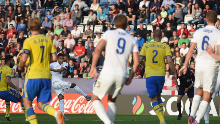 Kane looks on as Lingard scores the winner against Sweden in 2015