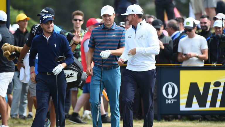 British Open: Spieth chips in for birdie in round two
