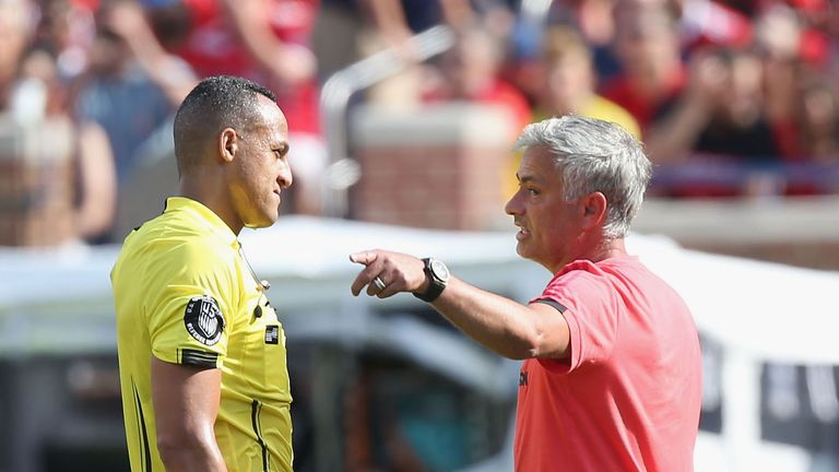 Mourinho was less than impressed with the refereeing in Michigan