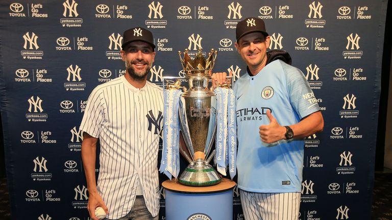 Pep Guardiola met New York Yankees manager Aaron Boone