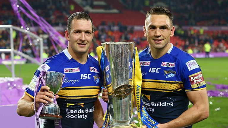 Kevin Sinfield (r) won seven Super League Grand Finals with Leeds Rhinos