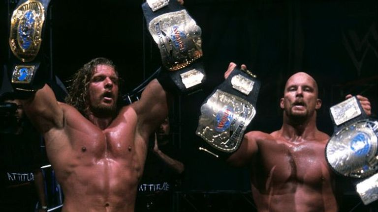 Long-time rivals Triple H and 'Stone Cold' Steve Austin held the tag-team titles in 2001