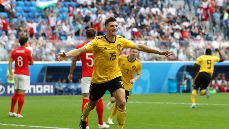 Thomas Meunier celebrates putting Belgium ahead against England