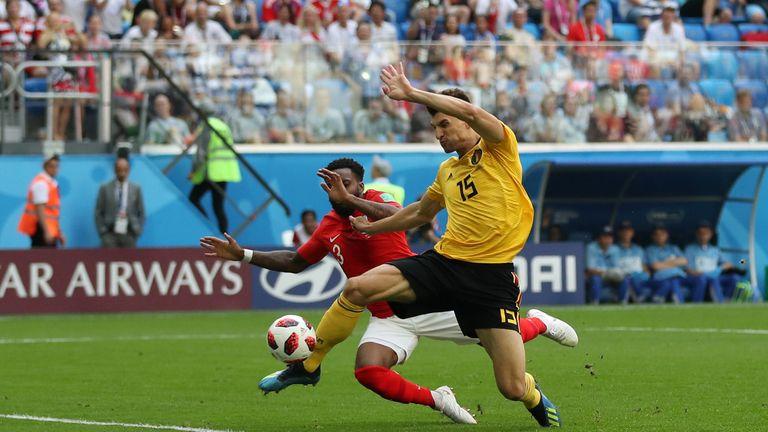 Meunier beats Danny Rose to the ball to put Belgium ahead