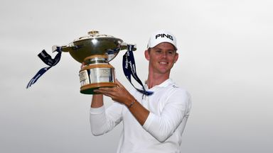 Brandon Stone celebrates after winning the Scottish Open