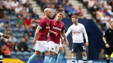 Jack Wilshere (right) made his West Ham debut at Preston