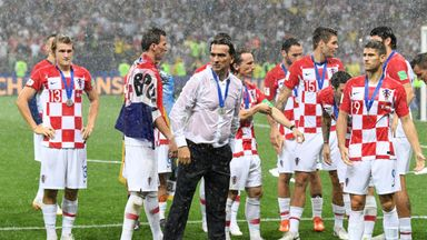 Croatia boss Zlatko Dalic reacts at the end of the World Cup final