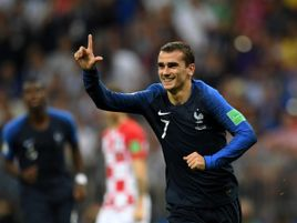Antoine Griezmann celebrates his goal against Croatia