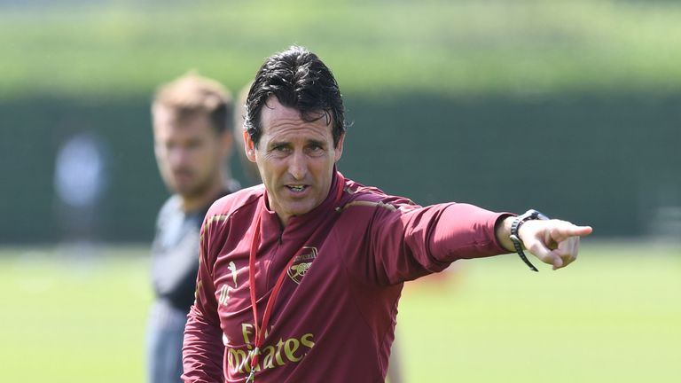 Arsenal head coach Unai Emery takes a training session at London Colney on July 12, 2018