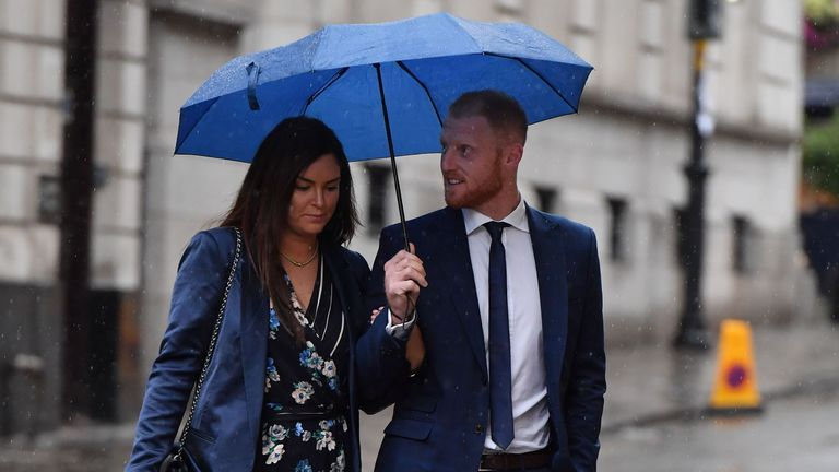 Stokes arrives at court on Friday morning alongside his wife