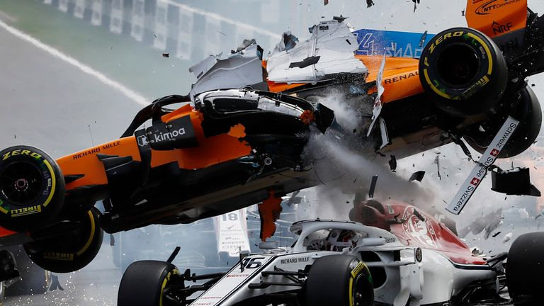 Sauber's Leclerc was also fortunate to emerge from the carnage without injury