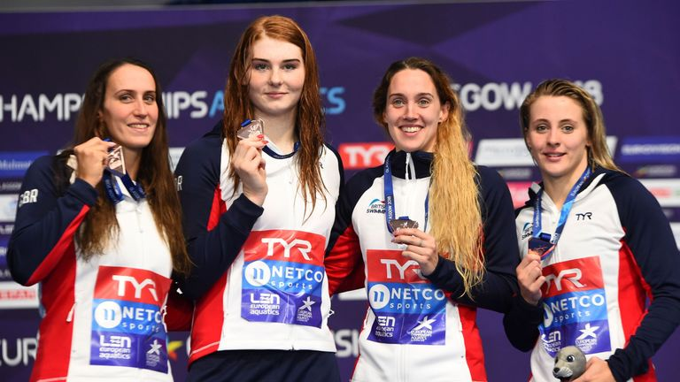 Anderson (second left) makes it four medals with her GB team-mates