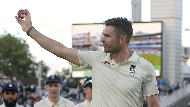 James Anderson acknowledges the applause for his sixth Test five-for at Lord's