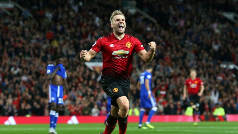 Luke Shaw scored Manchester United's second in their 2-1 win over Leicester