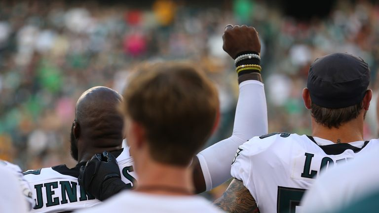 Malcolm Jenkins taking a stand during anthem during the pre-season