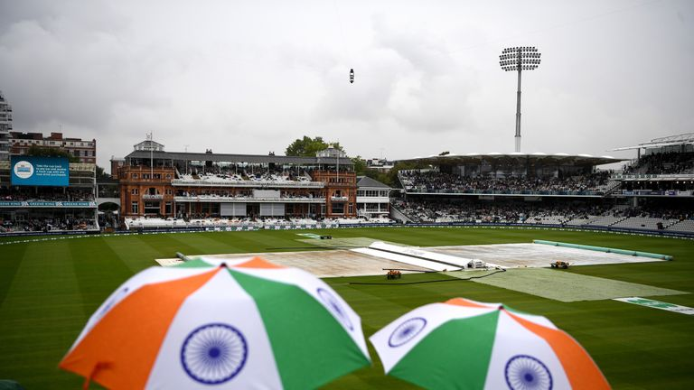 Rain wiped out day one of the second Test between England and India at Lord's