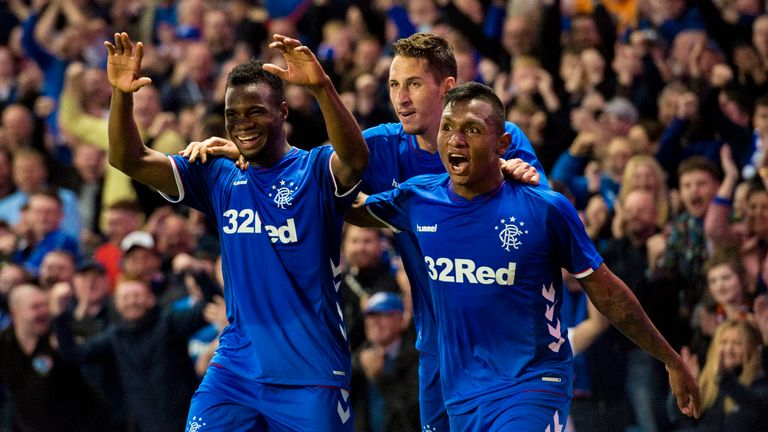 Alfredo Morelos (right) celebrates during Rangers' 3-1 win over Maribor on Thursday night