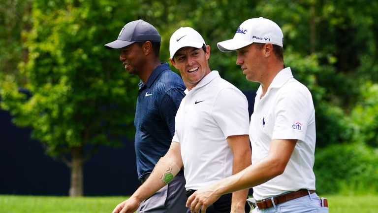 Woods and McIlroy both fired 70s, with defending champion Thomas one better