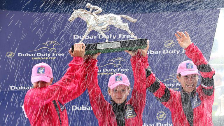 The Girls Team celebrate their Shergar Cup success