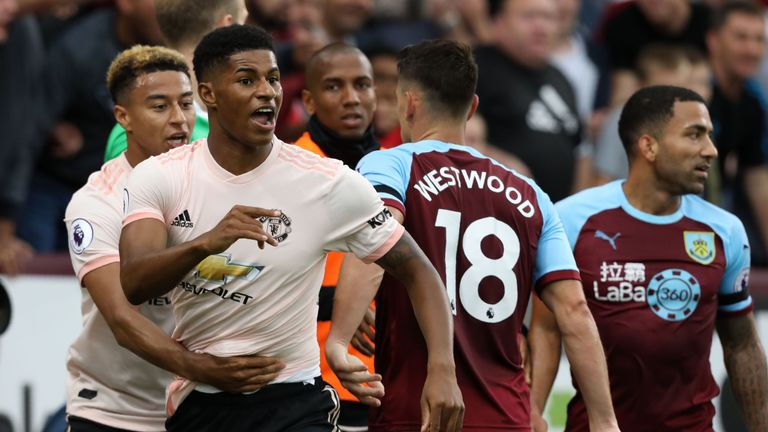 Marcus Rashford was sent off against Burnley last month